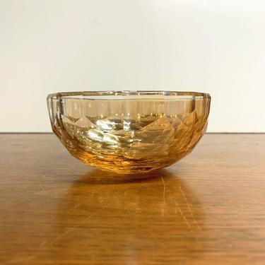 Vintage Oleg Cassini Jackie Amber Faceted Crystal Glass Bowl by OverTheYearsFinds