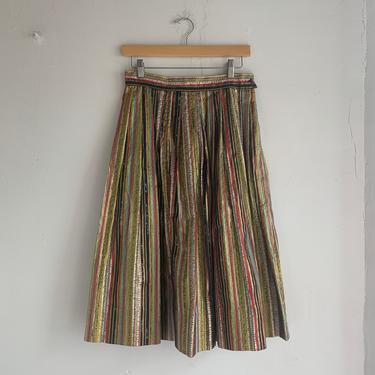 "Spectacular Unworn 1950s Full Skirt 28"" Waist Mid Century Bursting with Color Prints Vibrant Patterns Juxtaposing Gold Animal Stripes by AmalgamatedShop"
