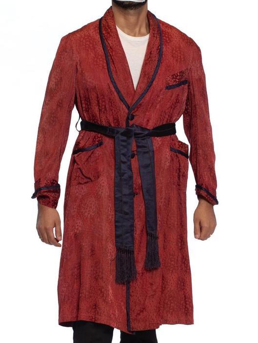 1920S Maroon Silk Jaquard Antique Mens Robe by SHOPMORPHEW