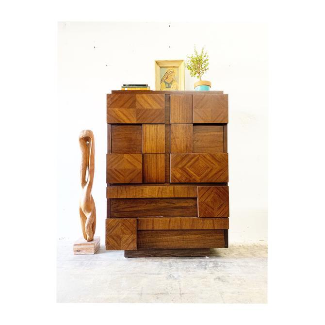 Mid Century Brutalist Tall Dresser or Chest by Lane by FlipAtik