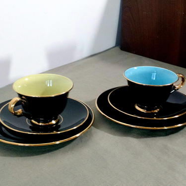 2 Demitasse TRIOS STAVANGERFLINT HARLEQUIN Black Gold Trim 1 Blue 1 Yellow Tea Cup Interiors Saucer Sm Plate Set 50s 60s  Norway Ex Cond by FultonLane