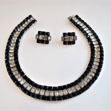 Adele Simpson Black and White Earrings Necklace Choker by ArtloversFinds