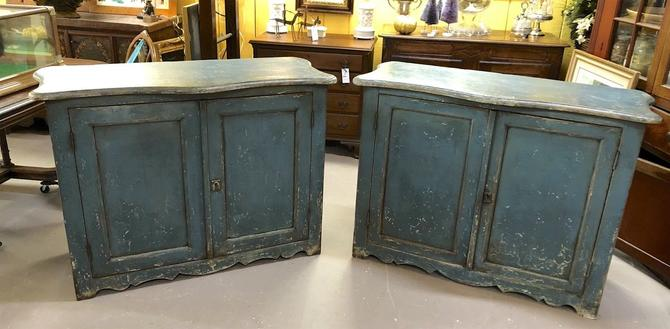 Pair of Antique Italian Provincial Country Cottage Painted Sideboards Cabinets