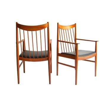 "Danish Mid-Century Modern Teak ""Captain"" Arm Chairs by Arne Vodder for Sibast, Pair by MidCenturyModernLAB"