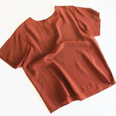 Vintage Brown Rust  Silk Shirt - 90s Short Sleeve Silk Top - Fall Earth Tone Minimalist Short Sleeve Silk Blouse - Solid Color by MILKTEETHS