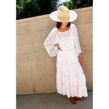 Gunne Sax Crochet Dress // vintage 70s boho hippie wedding 1970s hippy white country waist high prairie corset lace maxi // S Small by FenixVintage