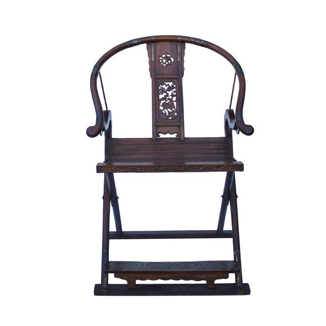 Chinese Elm Wood Horseshoes Curved Back Folding Armchair cs5369S