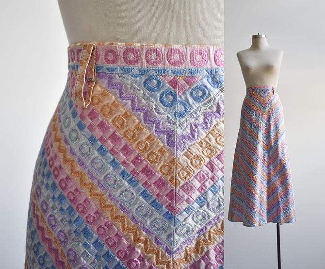1970s Brocade Pastel A Line Maxi Skirt by milkandice