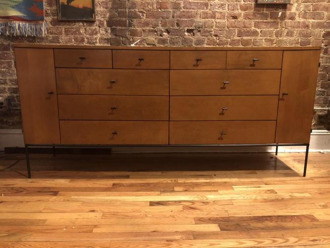 "Vintage paul mccobb mid century 20 drawer dresser 72"" credenza maple rare #1510 Rare Iron base T pulls tobacco by symmetryvintage"