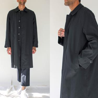 Vintage 70s Bill Blass Black Duster Chore Jacket w/ Removable Faux Fur Lining | Mod, Avant Garde, Trench Coat | 1970s Designer Mens Overcoat by TheVault1969