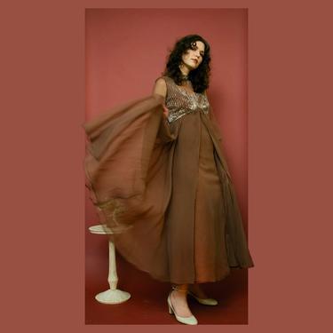 vintage 1970s sheer brown beaded bishop sleeve empire waist evening gown by FlowerInTheMirror
