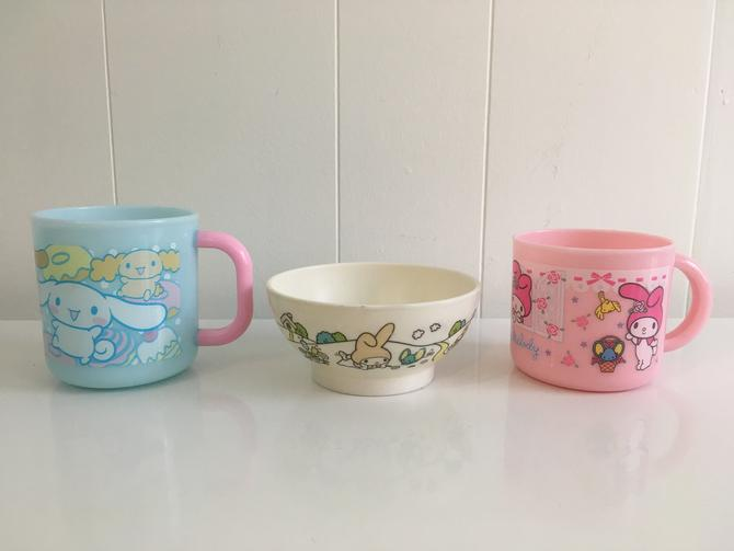 Vintage Sanrio Mugs Bowl My Melody Cinnamoroll Plastic 1976 1970s Kids Baby Made in Japan Hello Kitty Dishes by CheckEngineVintage
