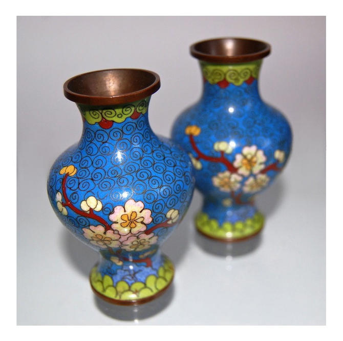 1920s Chinese Cloisonn Vases Pair Antique Art Nouveau Botanical
