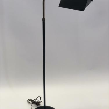 Koch Style Black and Brass Tent Shade Floor Lamp w/ Adjustable Neck | Mid-Century Modern | Vintage Look