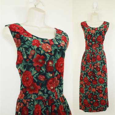 Vintage 90s Eddie Bauer Corduroy Floral Dress by GuavaNectarVintage