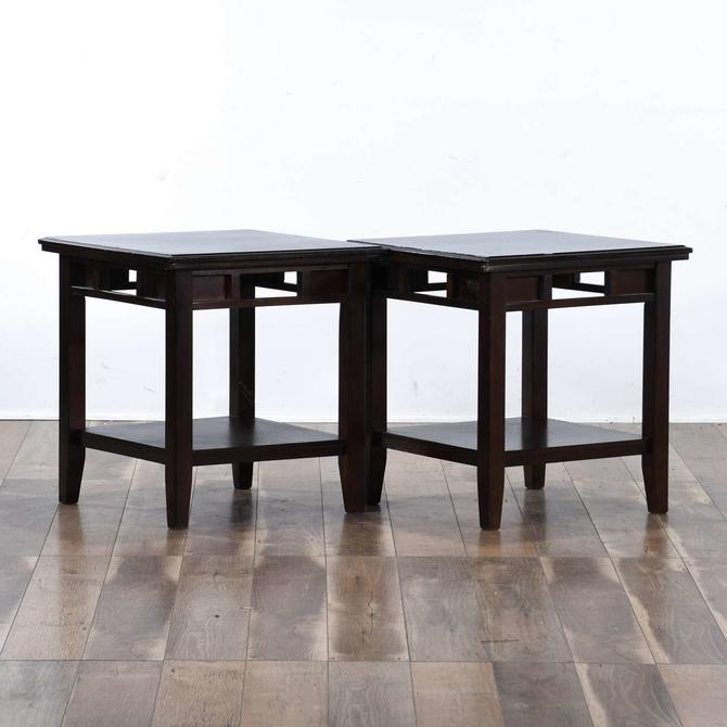 Pair Contemporary California Craftsman Style End Tables