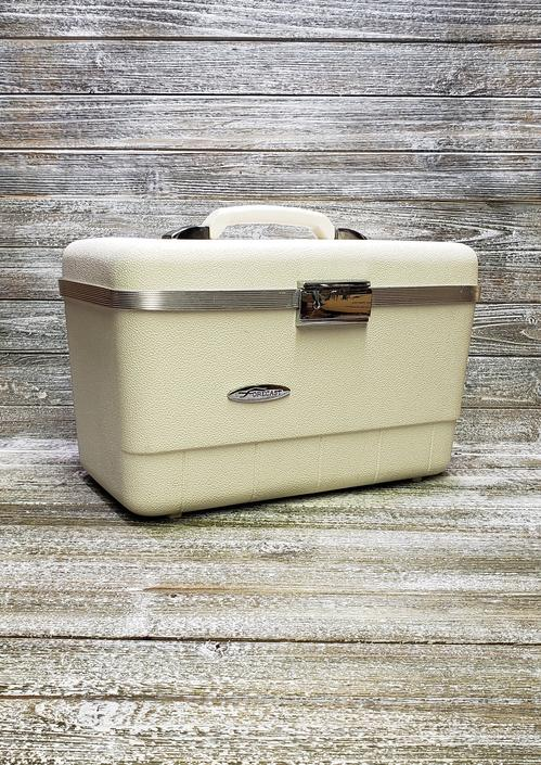 Vintage Forecast Train Case + Accessories + KEY, White Sears Luggage, Mid Century Modern Suitcase, Overnight Travel Case, Vintage Luggage by AGoGoVintage