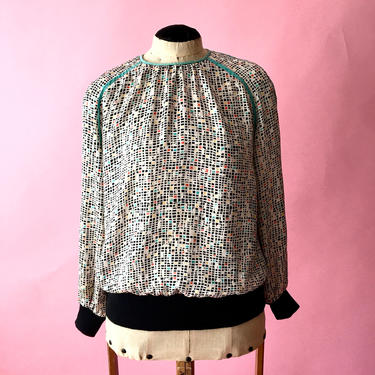 Vintage Silk Blouse / 1980s Blouse / Long Sleeve Blouse/ from Julie Francis by crazyplatter