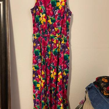 3) vintage floral dress magenta rayon floral 1980s 90s 80s midi maxi highwaisted by GRACEandCATS