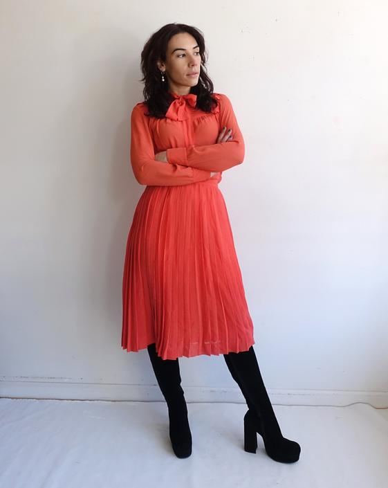 Vintage CELINE Salmon Two Piece Silk Set/ 1980s Pink Orange Blouse and Accordion Pleated Skirt/ Size 38 Small by bottleofbread