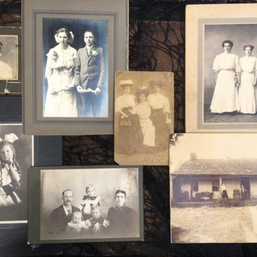 Antique Photos Spooky Collection, Lot Of Halloween Creepy Portraits, Set Of 7, Halloween Decor by luckduck