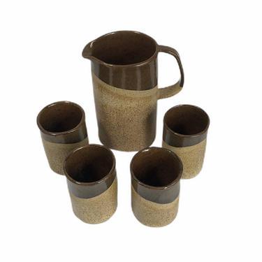 Vintage 70's Handmade Stoneware Studio Pottery Brown Drip Glaze Pitcher and Matching Mugs Set by Northforkvintageshop