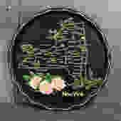 New York Souvenir Tin Tray - New York Map Souvenir - Vintage Black Souvenir Tray from New York   FREE SHIPPING by Trovetorium