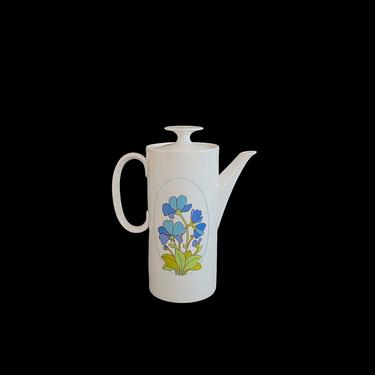 Vintage Mid Century Modern Thomas Rosenthal Porcelain of Germany SPRING Floral Pattern White Blue Green  COFFEE POT or Teapot by SwankyChaperooo