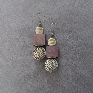 Wooden earrings, brass animal print earrings, Afrocentric earrings, mid century modern earrings, African earrings, bold statement, unique by Afrocasian