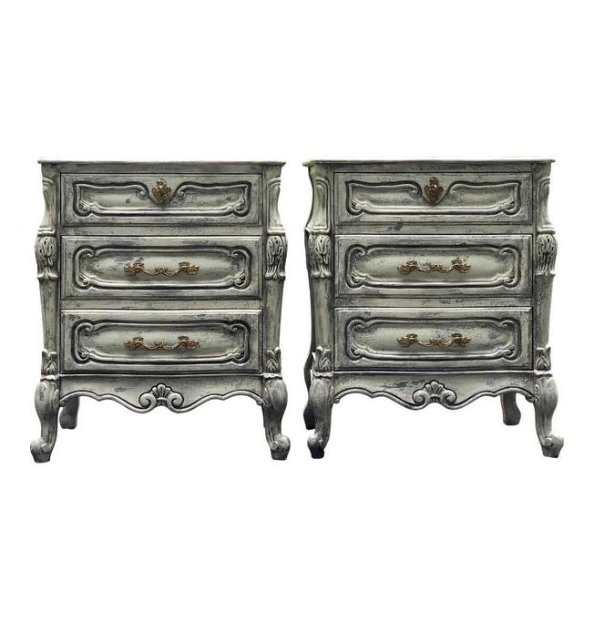 Pair of Carved Louis XV Style French Provincial Three Drawer Nightstands by 2ndStoryTradingCo