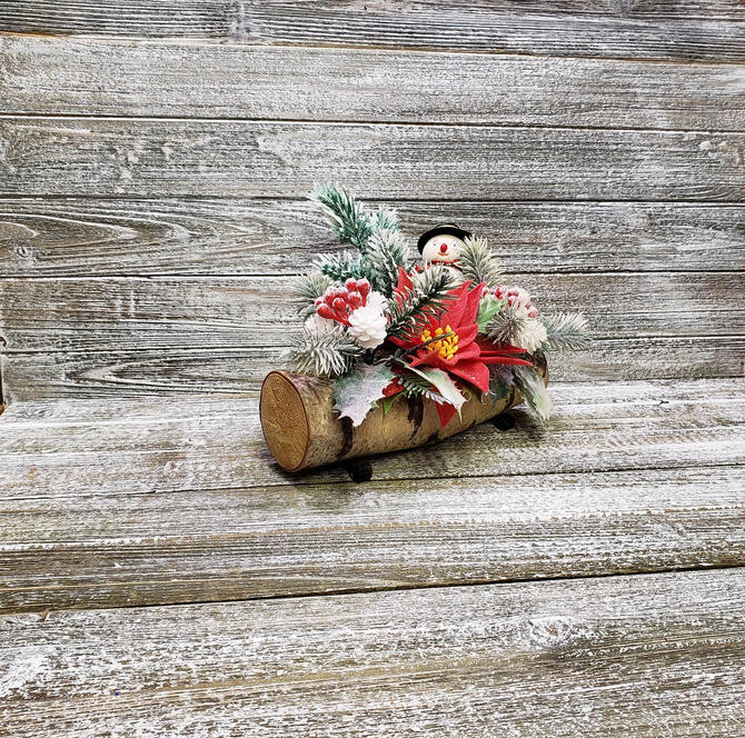 Vintage Flocked Frosty Snowman Centerpiece, 1960's Christmas Decoration, Yule Log Dinner Table Decor, Poinsettia, Holly, Vintage Holiday by AGoGoVintage
