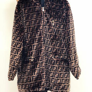 Vintage FENDI FF Zucca Print Reversible Faux Fur MONOGRAM Hooded Womens Brown Black Trench Jacket Dress Coat - Wow!! by MoonStoneVintageLA