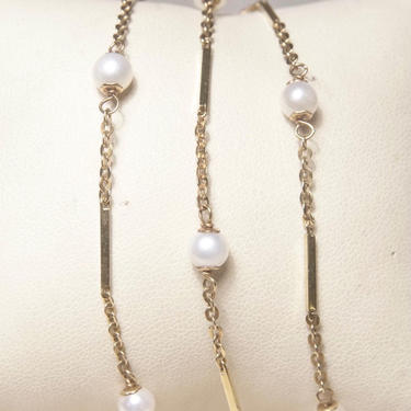 """Vintage 14K Gold Bar Cultured Pearl Station Necklace, Yellow Gold & White Pearl, 1mm Cable Chain, 5mm Pearls, 585 Jewelry, 23"""" Long by shopGoodsVintage"""