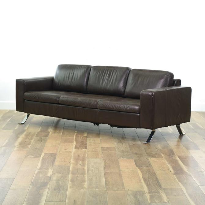 Contemporary Chocolate Brown Leather Sofa