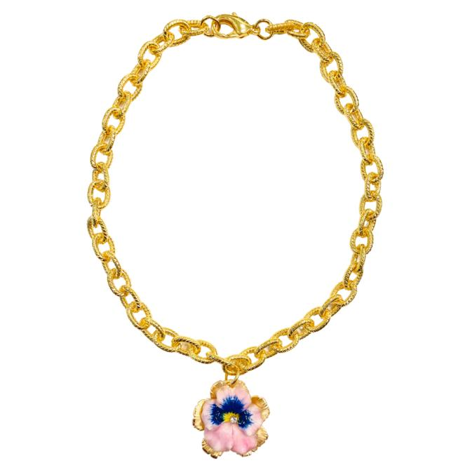 The Pink Reef pink pansy necklace