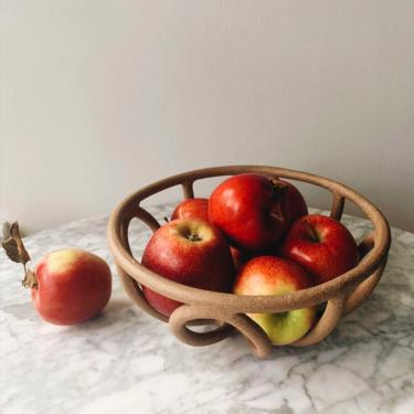 Handmade Ceramic Basket / Large Fruit Bowl, Speckled by PinchofClayCo