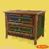 Small Burnt Bamboo Cane Chest