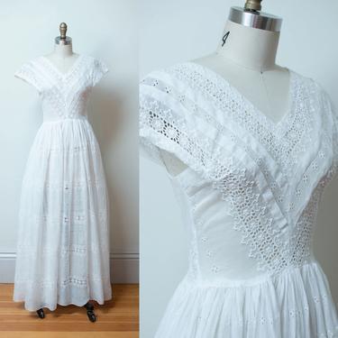 1940s White Eyelet Dress / 40s Wedding Dress by FemaleHysteria