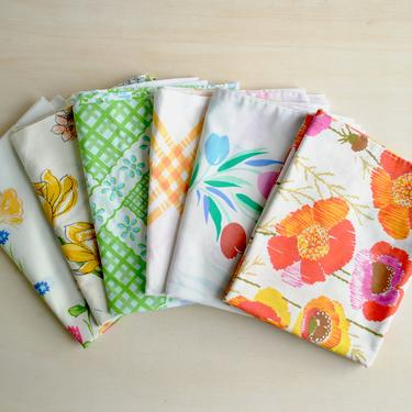 Vintage Standard Cotton Pillow Cases, Set of Six Retro Floral Pillow Cases, Colorful Vintage Pillow Covers, Mid Century Pillow Cases by LittleDogVintage