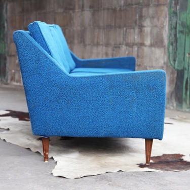 Mid Century Danish Modern Blue Upholstered Couch Sofa 3 seater Classic MCM Original Style Baughman Nelson Selig Dunbar Knoll Wormley by CatchMyDriftVintage