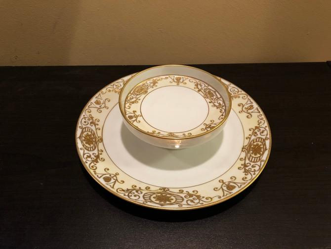 Vintage Noritake 175 (No 16034) Gold Flowers and Scroll On Cream One Piece Chip and Dip by OverTheYearsFinds