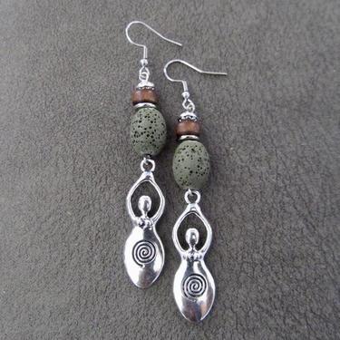 Goddess earrings, African statement earrings, Afrocentric earrings, green tribal earrings, primitive earrings, boho chic, female figure by Afrocasian