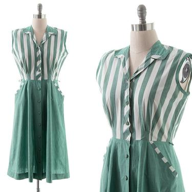 Vintage 1950s Shirt Dress | 50s Green Striped Cotton Chambray Color Block Fit and Flare Midi Shirtwaist Day Dress with Pockets (medium) by BirthdayLifeVintage