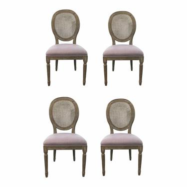 Transitional French Style Cane Back Dining Chairs With Lavender Fabric Set of Four
