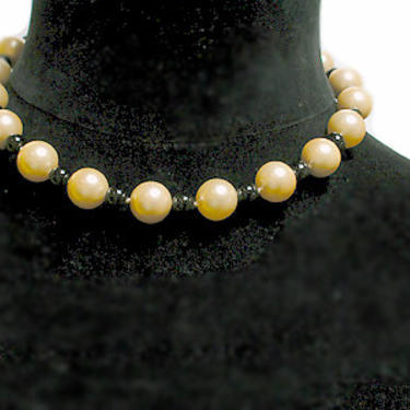 """Cafe Society Collection Necklace:  """"South Sea"""" Style Golden Mother of Pearl and Black Coral Beads by CafeSocietyStore"""