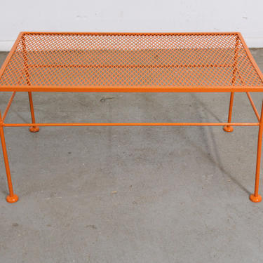 Vintage Mid-Century Modern Atomic Orange Metal Coffee Table by AnnexMarketplace