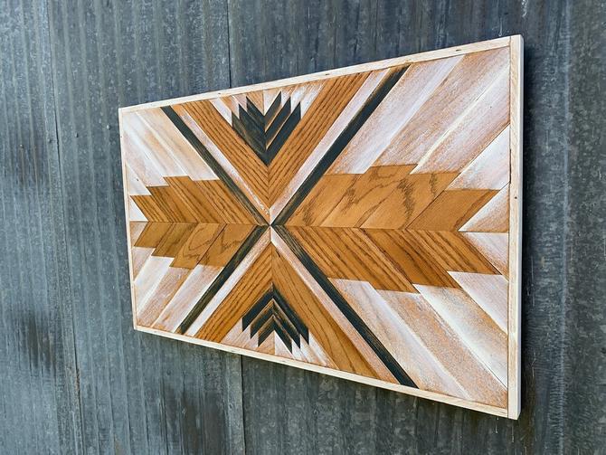 Reclaimed Oak Wall Art - Wheat and White