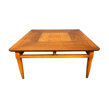 Vintage Mid Century Modern Walnut & Burl Wood Side Table by Lane by AymerickModern