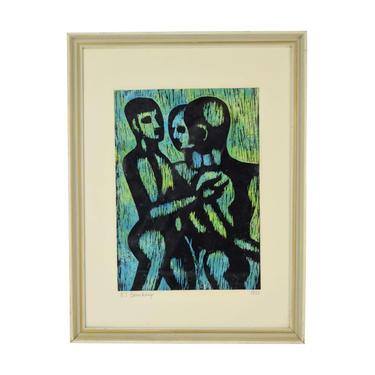 Mid-Century Modern Abstract Woodcut Print Three Nude Men signed Beauchamp by PrairielandArt