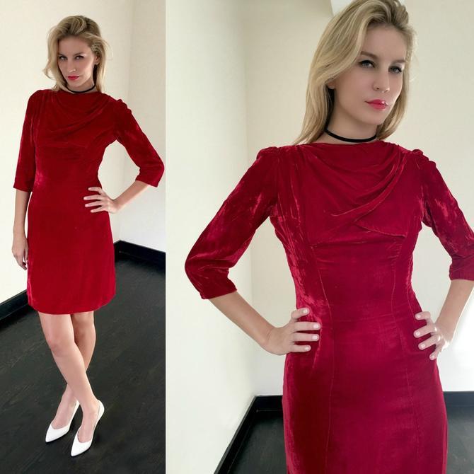 Vintage 60s Red Velvet Wiggle Dress by SpeakVintageDC